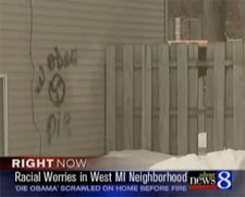 'Die Obama' Graffiti Near Fire in Grand Rapids