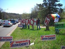 photo of impeachment demo in kalamazoo, michigan