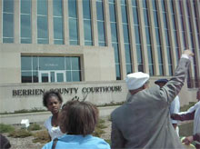 photo of edward pinkney outside berrien county courthouse