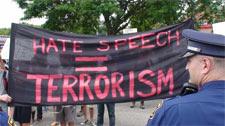 hate speech = terrorism banner photo